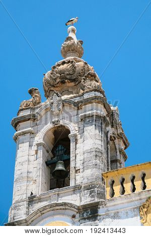 Stork On Tower Of Church Igreja Do Carmo In Faro