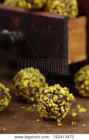 Homemade Pistachio Candies On Wooden Background