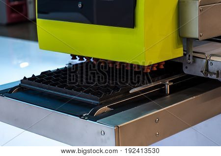 eggs production line without eggs on fabric