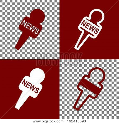 TV news microphone sign illustration. Vector. Bordo and white icons and line icons on chess board with transparent background.