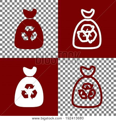 Trash bag icon. Vector. Bordo and white icons and line icons on chess board with transparent background.