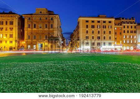 View of Venice Square at night. Rome. Italy