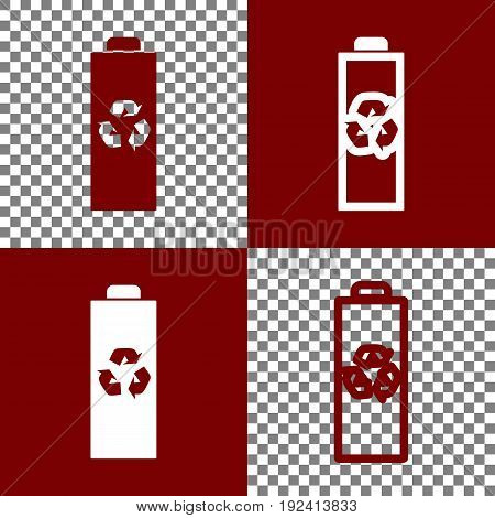 Battery recycle sign illustration. Vector. Bordo and white icons and line icons on chess board with transparent background.
