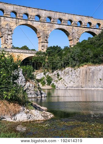 Aqueduct Pont Du Gard Over Gardon River