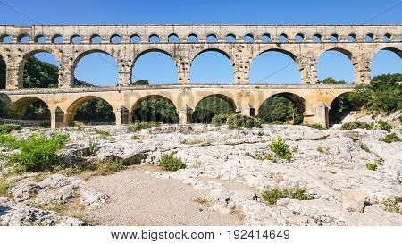 View Of Ancient Roman Aqueduct Pont Du Gard