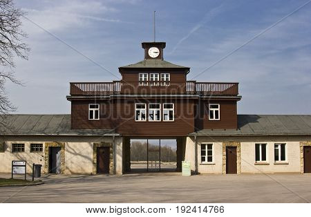 Entrance gate to Buchenwald concentration camp in Germany