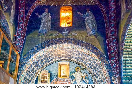 Ravenna Italy - March 1 2012: The mosaics of Galla Placidia mausoleum.