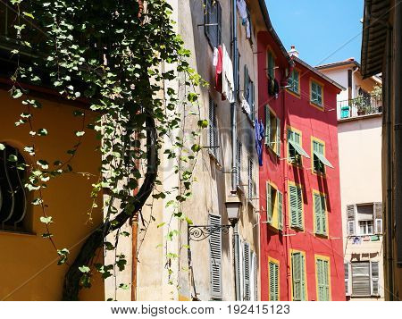 Picturesque Urban Houses In Old City Of Nice
