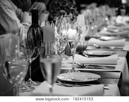 Served Table At The Beginning Of Banquet