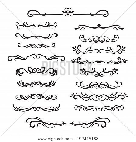 Flourishes vintage. Ornamental borders and dividers, filigree ornament swirls. Victorian decoration elements. Vector illustration