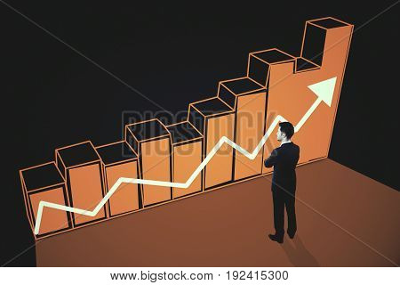 Side view of thoughtful businessman looking at orange chart bars with upward arrow on dark background. Income concept. 3D Rendering