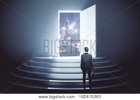 back view of young man looking at night city through open door in concrete interior with steps. Vision concept. 3D Rendering