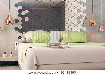 Creative tray with empty paper sheet coffee cup and book placed on clean bed in modern interior with hexagonal mirror. Mock up 3D Rendering