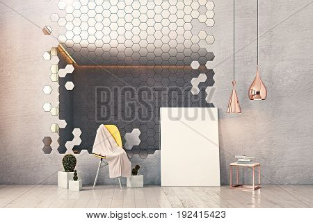 Front view of concrere interior with hexagonal mirror chair decorative plants poster leaning on wall and other items. Mock up 3D Rendering