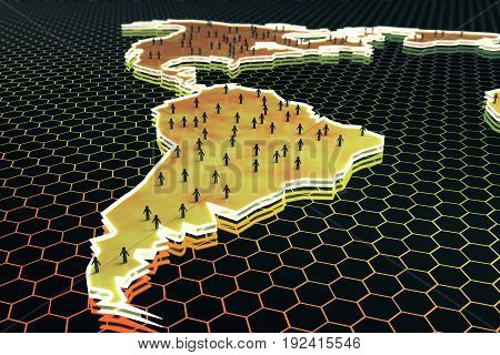 Abstract map with small people/businessmen figures on honeycomb/hexagon patterned background. Connection concept. 3D Rendering