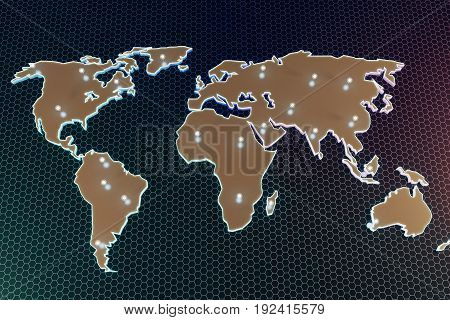 Abstract digital map with illuminated points on dark honeycomb background. Navigation concept. 3D Rendering