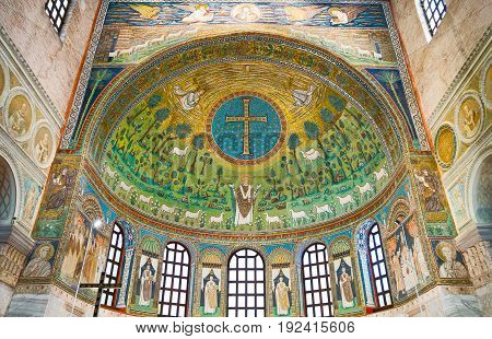 Ravenna Italy - March 1 2012: The mosaics of S.Apollinare in Classe basilica