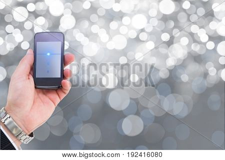 Digital composite of model with phone in hand