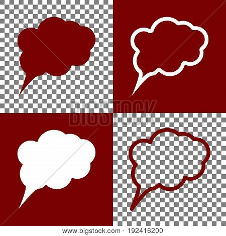 Speach bubble sign illustration. Vector. Bordo and white icons and line icons on chess board with transparent background.