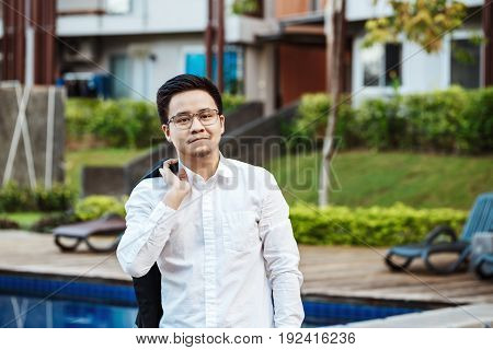Concept Business - Handsome Asian Business Man Ready To Go For Work.