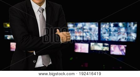 blurred photo Blurry image closed circuit camerasecurity system walkie-talkie while looking at CCTV footage.