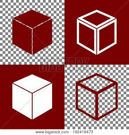 Cube sign illustration. Vector. Bordo and white icons and line icons on chess board with transparent background.