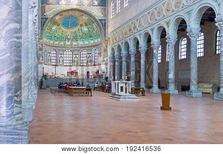Ravenna Italy - March 1 2012: The central nave of S.Apollinare in Classe basilica