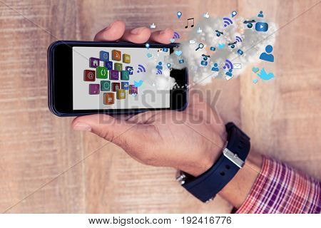 Digital composite of models holding phone with apps