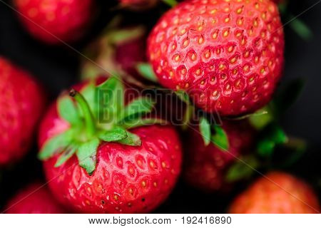 fresh ripe garden strawberries, a macro shot.