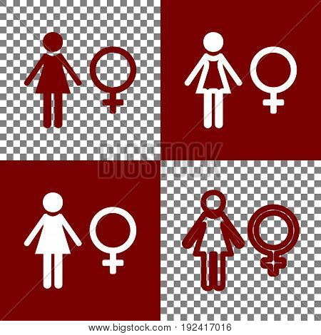 Female sign illustration. Vector. Bordo and white icons and line icons on chess board with transparent background.