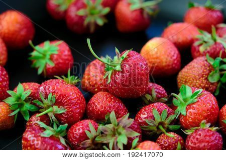 fresh ripe garden strawberries, a macro shot