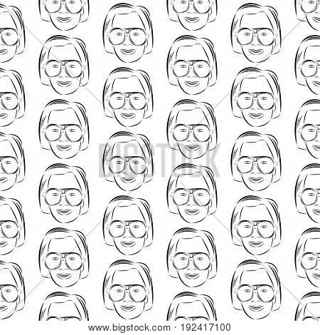 Vector illustration pattern from set of female faces in round big glasses painted by black brush in checkerboard pattern on white background