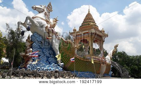Buddhist art, horse and ship in the sea in western Thailand
