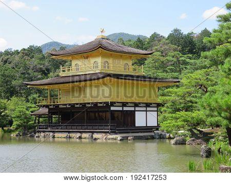 Golden pavilion in the pond, Kyoto Japan