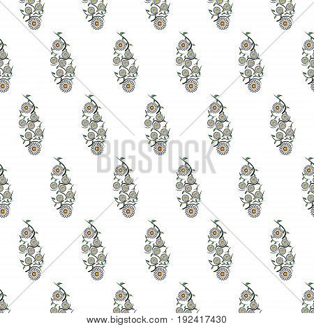 Vector illustration seamless texture from a pattern of chamomile flowers leaves and wavy stems on a white background in checkerboard pattern