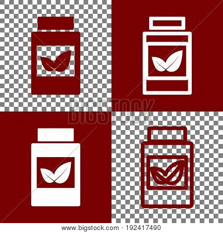 Supplements container sign. Vector. Bordo and white icons and line icons on chess board with transparent background.