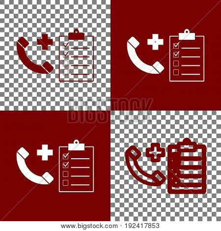 Medical consultation sign. Vector. Bordo and white icons and line icons on chess board with transparent background.