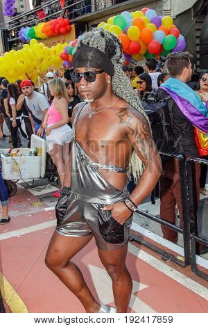 Young Black Man At Gay Pride Parade Sao Paulo