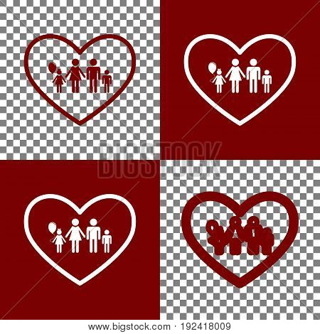 Family sign illustration in heart shape. Vector. Bordo and white icons and line icons on chess board with transparent background.