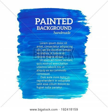 Abstract Painting Blue Background. Vector Illustration
