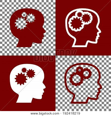 Thinking head sign. Vector. Bordo and white icons and line icons on chess board with transparent background.