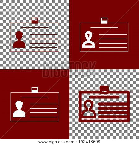 Identification card sign. Vector. Bordo and white icons and line icons on chess board with transparent background.