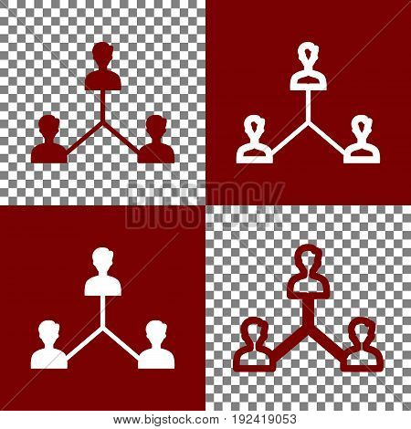 Social media marketing sign. Vector. Bordo and white icons and line icons on chess board with transparent background.