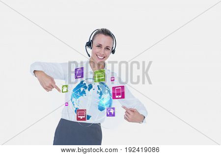 Digital composite of Business woman showing icons and wearing Headset
