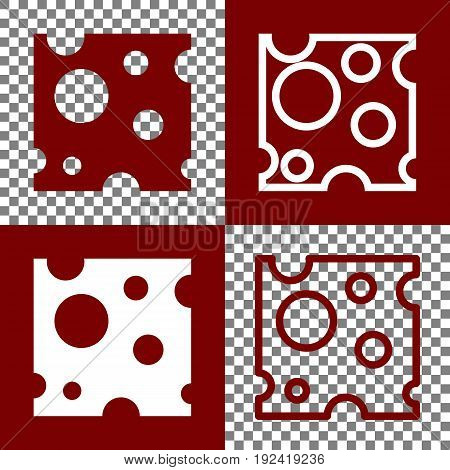 Cheese slice sign. Vector. Bordo and white icons and line icons on chess board with transparent background.