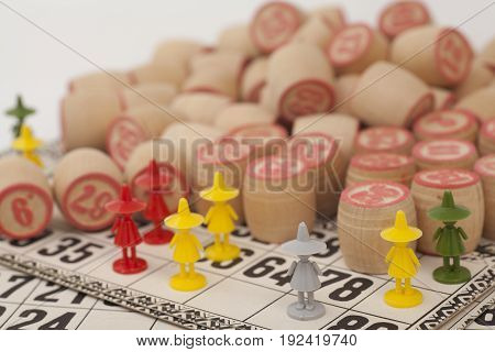 Cards and kegs for Russian lotto (bingo game) on white background