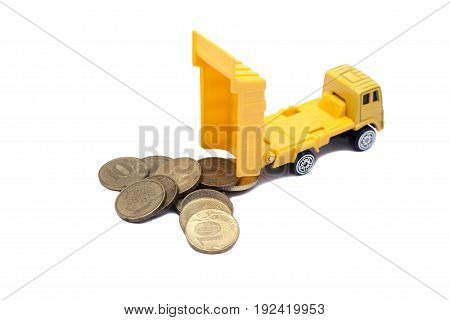 truck caries and coins isolated on white background