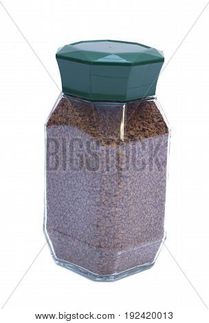 Instant coffee in glass pot isolated on white