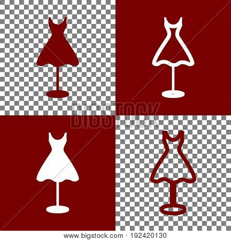 Mannequin with dress sign. Vector. Bordo and white icons and line icons on chess board with transparent background.