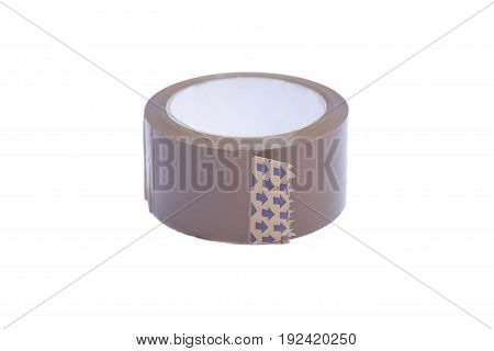 Roll of clear transparent sticky tape isolated on white